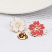 Wholesale enamel cherry resale online - 1 PC Red White Color Enamel Cherry Blossom Flowers Brooch Women Girl Bag Hat Cute Metal Lapel Pin Badge Brooches