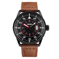 круглые дисплеи оптовых-Leisure Genuine Leather Band Round Dial Waterproof Men Wrist Watch Date Display men watch