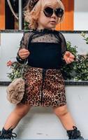 meninas vestido longo suspender venda por atacado-Crianças verão rendas blusa de manga longa princesa saia de leopardo vestidos de moda criança bebê menina vestido de festa crianças roupas vestido de verão