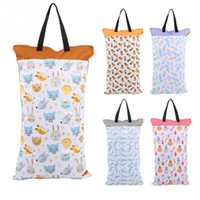 Wholesale diapers pail resale online - 40 cm Large Hanging Wet Dry Pail Bag for Cloth Diaper Inserts Nappy Laundry With Two Zippered Waterproof Reusable Nursing Bag Y200107