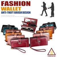 Wholesale fashion blocks for sale - Group buy Genuine Leather Wristlets Long Clutches Fold Over Wallet RFID Blocking Zipper Banknote Coin Pouches Interior Slot Pocket Cowhide Purse Gifts