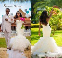 Wholesale sexy summer wedding dresses online - Gemma Lace Mermaid Cheap Wedding Dresses Sleeveless Jewel Neck white Sweep Train Backless Bridal Gowns Dress