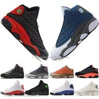 erkekler için en iyi kapaklar toptan satış-En iyi Kalite 13 13 s Kap Ve Kıyafeti Terracotta Allık Erkek Basketbol Ayakkabıları Kedi Siyah Kızılötesi Flints Bred Erkekler Spor Sneakers Tasarımcı EUR36-47