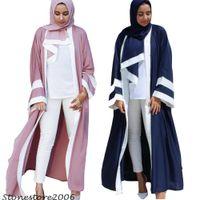 ingrosso sciarpe mediorientali-Dubai Donna Casual Abaya Musulmano Abito a righe Sciarpa Cardigan Long Robes Kimono Medio Oriente Thobe Worship Service Islam Abbigliamento