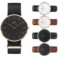 часы пояса нейлон оптовых-Классический нейлоновый ремень для женщин gg Watch Top daniel Мужские часы Повседневная женская одежда Розовое золото наручные часы Reloj Hombre box bracelet