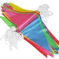 drapeaux colorés achat en gros de-38m Longueur de la corde 100pcs Drapeaux Drapeaux colorés pour la décoration de fête de mariage d'anniversaire