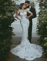 Wholesale sweetheart strapless tulle wedding dress for sale - Group buy Sexy Strapless Full Lace Appliqued Mermiad Wedding Dress Vintgae Luxury Sweetheart Sheath Bohemian Beach Bridal Gown