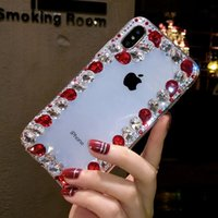 bunte rhinestones telefon fälle großhandel-Luxus bunte diamant designer phone cases abdeckung coque für iphone xs max xr 6 7 8 plus glitter case klar strass telefon case