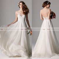 Wholesale beach wedding dresses online - 2019 Simple Spaghetti Straps Boho Beach Wedding Dresses Lace Appliques Tulle Backless A Line Bridal Gowns Cheap Long Wedding Party Dress