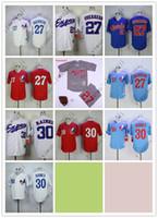 blaue baseballstiche großhandel-Günstige EXPOS Trikots 27 # GUERRERO / 30 # Raines Rot Weiß Grau Dunkel Hellblau Baseball-Shirts Shirt Genäht Hochwertig!