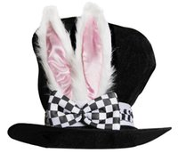 Wholesale top hat black online - Rabbit Hat Easter Theme Party Hat Velvet Bunny Ear Top Hats With Checkered Bowknot Easter Party Rabbit Topper Plush Hat