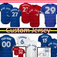 ingrosso baseball 15-27 Vladimir Guerrero Jr. Toronto Blue Jays personalizzata Jersey 29 Joe Carter 6 Marcus Stroman 15 Randal Grichuk 14 Justin Smoak 42 Royal