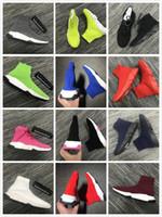 ingrosso donne cc appartamenti-Sneaker da uomo a calza da allenamento Speed Mid-Top da uomo Stivaletti da donna Pantaloni da allenamento Speed Runner Outdoor Casual Scarpe basse kanye cc vintage 35-45