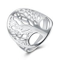 Wholesale brass ring price resale online - Price cute women silver Color Ring tree Life charms wedding jewelry girl high quality fashion classic jewelry R891