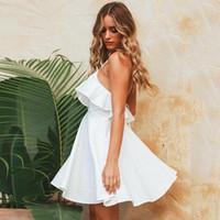 mini vestido de encaje al por mayor-Vestido de gasa de las mujeres de la playa de las correas del verano Sexy con cuello en V con espalda abierta con cordones de volantes Mini Vestidos Vestido Casual Vestidos