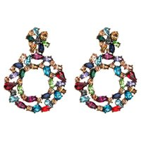 большие серьги из горного хрусталя оптовых- crystal drop earrings for women 2019 big colorful statement earrings large rhinestone earings bold Fashion Jewellery