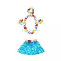 hawaïen hula herbe jupes achat en gros de-30 ensembles 30cm jupe hawaïenne herbe hula + 4 pc Lei Set pour enfant Luau Déguisement Costume Party Beach Guirlande De Fleurs Set cc228-2352018071204