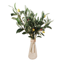Wholesale fruit wreaths resale online - 3pcs Artificial European Olive Tree Branches With Olive Fruit Leaves For Home Party Wedding DIY Decoration Flowers Plants Wreath