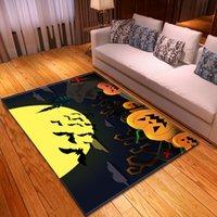 grüne partylaternen großhandel-Halloween Wohnzimmer Fläche Teppich Teppiche Gleitschutz Parlor Party Decor Bodenmatte Teppiche Entsetzt Kürbis-Laterne Schläger Großer Teppich