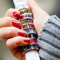 metall diamantring großhandel-Regenbogen Diamant Ringe Mädchen Kristall Ring Frauen Edelstahl Diamant Ringe Mode Metall Jewery Striped Bunte Ring GGA2579
