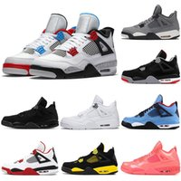yangın kırmızı ayakkabılar toptan satış-Nike air jordan retro 2019 Bred 4 erkek basketbol ayakkabı 4 s siyah kırmızı beyaz Çimento KANATLARı SATıŞ CITRON SAF PARA ROYALTY erkek spor sneakers