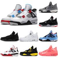 zapatos rojos de fuego al por mayor-Nike air jordan retro 2019 Bred 4 zapatos de baloncesto para hombre 4s negro rojo blanco Cemento ALAS PALE CITRON PURE MONEY ROYALTY hombre zapatillas deportivas