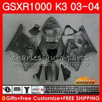 carenado negro mate gsxr al por mayor-Marco para SUZUKI GSX-R1000 GSXR 1000 GSXR1000 negro mate 03 04 Carrocería 15HC.97 Carrocería GSX R1000 K3 GSXR-1000 03 04 2003 2004 Carenado kit