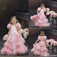 розовые детские халаты оптовых-Цветочные девушки платье для свадьбы Jewel шеи Розовых Аппликации лука Многоуровневого Sweep Поезд бабочка День рождения девушка дети Pageant Gowns