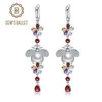 ingrosso pietre preziose d'epoca-GALLETTE GEMME Orecchini in pietra naturale multicolore con orecchini in argento sterling 925 con perle d'acqua dolce vintage per donna