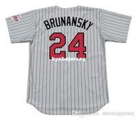 baseball jerseys minnesota groihandel-Cheap Custom Tom Brunansky Minnesota genähtes 1991 Majestic Weinlese weg Baseball Jersey Retro Herren-Trikots Lauf