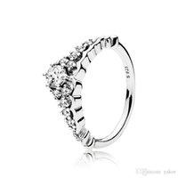 ingrosso fata di pandora-NUOVE donne di moda anelli corona fata con confezione regalo originale per Pandora 925 Sterling Silver CZ Diamond Ring Set