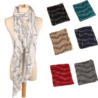 Wholesale music shawl resale online - Balinese Scarf Fashion Music Note Sheet Music Piano Notes Script Print Scarves Infinity Scarf Shawl Wrap For Women EEA990