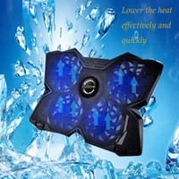 Wholesale power radiators resale online - Powerful USB Powered Slim Flat Notebook Laptop Cooler Cooling Pad Radiator LED Four Fans for inch Laptop Computer PC Gaming