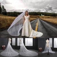 fildişi beyaz renk toptan satış-Veil Zarif Düğün 3 Metre Uzun Yumuşak Gelin Veils ile Tarak Tek katmanlı Fildişi Beyaz Renk Gelin Düğün Aksesuarları CPA078