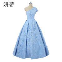 hermoso vestido de noche azul con cuentas al por mayor-Vestido de fiesta de noche hermoso y hermoso Apliques de encaje Flor de lentejuelas con cuentas Un hombro Vestido de noche formal exquisito Azul