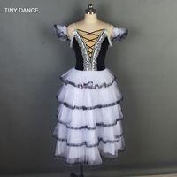 siyah tutu kadınlar toptan satış-Kadın Romantik Bale Tutu Siyah / Beyaz Uzun Bale Tutu Kostüm Yetişkin Kızlar için Performans Balerin Dans Elbiseler 19230