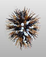 araña de cristal negro moderno al por mayor-Negro ámbar blanco colgante maravilloso de China lámparas de Murano Arte Iluminación pendiente moderna del ornamento de la lámpara de cristal soplada