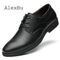 свадебные платья кружева оптовых-AlexBu Fashion Leather Shoes Men Lace Up New Pointed Toe Formal Business Office Wedding Shoe Man  Designer Dress Shoes