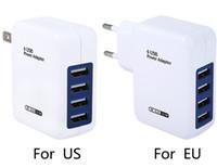 usb hub eu toptan satış-AB ABD Plug 4 Port USB Şarj Adaptörü 5 V 3.1A Hızlı Şarj USB HUB Duvar Şarj iphone / iPad Için Samsung / Xiaomi