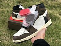 satılık kahverengi ayakkabılar toptan satış-2018 Satış Yeni Travis Scott logo 1 s OG Yüksek Bir Basketbol ayakkabıları Kahverengi Scott Erkek Tasarımcı Sneakers 1 Paten Eğitmenler