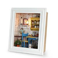 diseño de marcos de fotos para niños al por mayor-Casa de muñecas de madera de bricolaje ensamblar kits de casa de muñecas en miniatura con muebles diseño de marco de fotos decoración juguetes para niños regalo de cumpleaños Y19070503