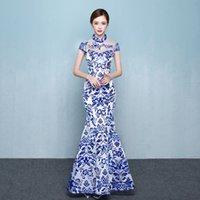 azul blanco qipao al por mayor-Porcelana blanca azul chino tradicional vestido de noche Moda sirena largo moderno Qipao Cheongsam Oriental vestidos personalizados