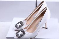 zapatos de boda rhinestone al por mayor-NUEVA marca de Italia Mercerized denim SEDA real zapatos de boda de plata Rhinestone Tacones altos women039; s Zapato de boda zapatos de novia CON