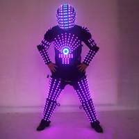 robô de palco venda por atacado-LED Trajes Robot Clothes Luzes LED luminoso Suit palco de dança de desempenho mostram Vestido para o Night Club