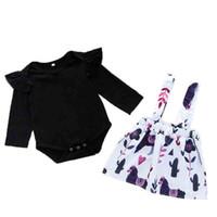 Wholesale kids clothing skirts black resale online - Baby Strap Dress Sets Kids Designer Clothes Long Sleeve Printing Round Neck Cartoon Skirt Kids Suit
