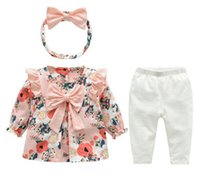 Wholesale kids clothes for sale - baby girl Kids Piece Sets Clothing Baby Spring round collar Long sleeve flower print Shirt pant Headband Spring fall girl clothing sets