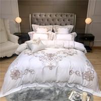 ägyptisch creme großhandel-Luxus Stickerei Bettwäsche-Sets Erwachsene Bettwäsche-Set ägyptischer Baumwolle Bettwäsche Bettbezug Bettlaken Kissenbezug 4 / 7pcs Sets