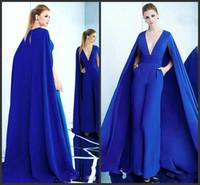 Wholesale waist dresses online - Royal Blue Deep V Neck Jumpsuit Evening Dresses with Wrap High Waist Pleat Satin Celebrity Gown Simple Custom Made Women s Red Carpet Dress