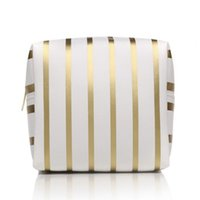 большие мешки с застежкой из пвх оптовых-Toiletry Cosmetic Pouch Practical PVC Multi-Purpose Waterproof Zipper Square Shape Striped Pattern Makeup Bag Large Capacity