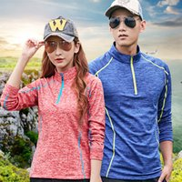 Wholesale collar coupling shirt resale online - Outdoors Cashmere Athletic Wear Couple Mountaineering Long Sleeves Stand Collar Sports Wear Autumn Quick Drying Breathable T Shirt blH1